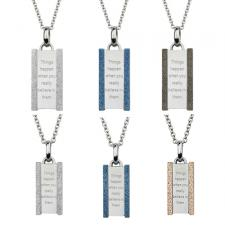 Vertical Stainless Steel Pendant With Inspirational Inscription