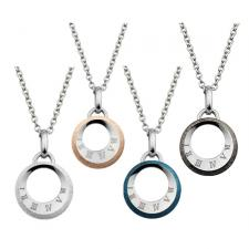 Circular Stainless Steel Pendant With Etched Roman Numerals