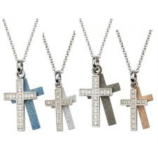 Two-Part Stainless Steel Cross Pendant With CZ Stones And Sandblast Texture