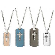 Stainless Steel Dog Tag Pendant With Centered CZ Cross And Sandblast Edges