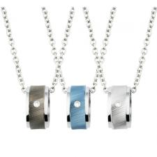 Stainless Steel Barrel Pendant with CZ Stone and Striated Center Design