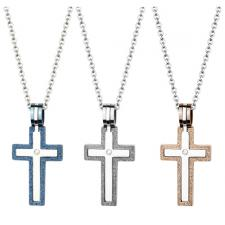 Two-Part Stainless Steel Cross Pendant With CZ Stone And Sandblast Textured Edges