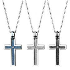 Two-Part Sandblast Textured Stainless Steel Cross Pendant With CZ Stone And Shiny Outer Edges