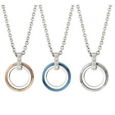 Circular Stainless Steel Pendant With Striated Design And CZ Encrusted Bail