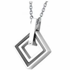 Stainless Steel Diamond Shaped Pendant With Colored PVD