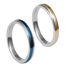 Stainless Steel Ring With Striped PVD Center