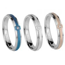 Stainless Steel Ring With CZ Stone And Thinly Striated Center Design