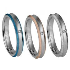 Stainless Steel Ring With Thinly Striated Edges And Centered CZ Stone