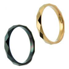 Tungsten Ring with Diamond Cut Design