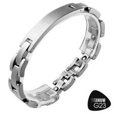 Titanium Link Bracelet with with Curved ID Plate for Engraving