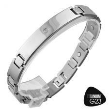 Magnetic Therapy Titanium Bracelet w/ Curved ID Plate and Center CZ Stone