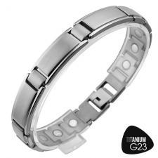 Magnetic Titanium Bracelet w/ Brushed and Shiny Finish