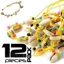 Yellow Hemp and Shell Adjustable Bracelet