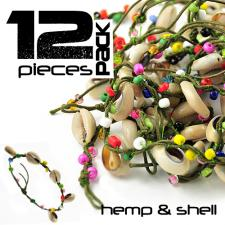 Green Hemp Thread, Colored beads and Sea Shell Bracelet