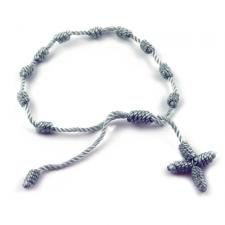 Grey Thread Rosary Adjustable Bracelet
