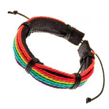 Adjustable Brown Leather Bracelet Layered Multicolored Rope Straps