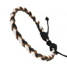 WHITE AND BLACK BRAIDED LEATHER BRACLET