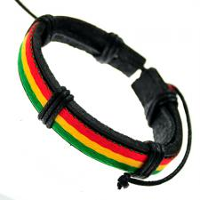 Adjustable Black Leather Bracelet With Irie Colored Strap