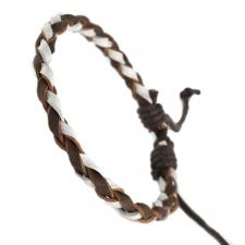 WHITE AND BROWN BRAIDED BRACELET