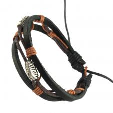 BLACK AND BROWN WITH TWO STEEL BEADS BRAIDED BRACELET