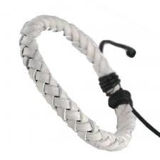 White Braided Leather Bracelet with Adjustable Drawstring