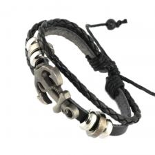 BLACK BRAIDED BRACELET WITH ANCHOR Symbol In Steel