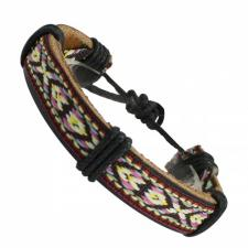 Multi-Colored Sweater Pattern Leather Bracelet