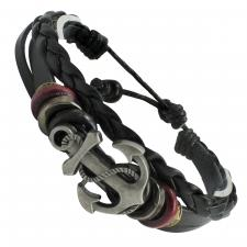 Black Braided Leather Bracelet with Anchor Charm