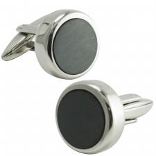 Stainless Steel Black Round Cufflinks