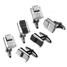Stainless Steel Cufflinks With Raised Linear Design