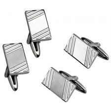 Neo-Classic Stainless Steel Cufflinks with Etched Linear Design
