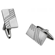Neo-Classic Stainless Steel Cufflinks With Diagonal Linear Design