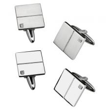 Neo-Classic Stainless Steel Cufflinks With CZ Stone