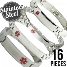 Stainless Steel Bracelets  4 Styles x 4 Each x 16 Pieces  Please Note, This Package Is Pre-Packaged According To Style Availability!