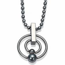 Stainless Steel Chain w/ Double Captive Rings on Pendant
