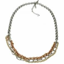 Exquisite Stainless Steel Necklace With 3 Smaller Chains Connected To It And A Dangling CZ Stone--Certain Lady Collection