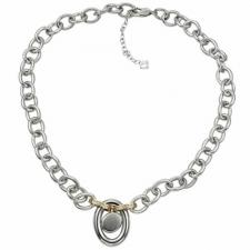 Gorgeous Stainless Steel Necklace With Circular Charm In The Center With 2 Rose Gold Links Holding The Charm--Certain Lady Collection