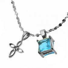 Stainless Steel Necklace with Cross and Turquoise Stone Charms