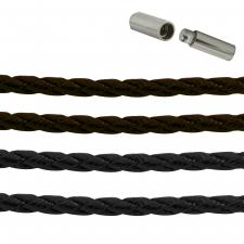 Double Braided Leather Necklace with Bayonet Lock