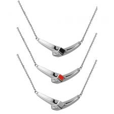 Modern Stainless Steel Necklace with Optional Enamel Accent