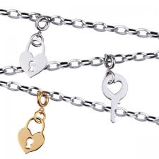 Stainless Steel Charm Necklace with Gold, Steel Charms, Lobster Clasp.