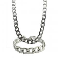 CUBAN LINK STAINLESS STEEL NECKLACE + BRACELET SET 15MM-