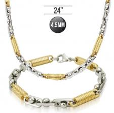 Stainless Steel Set Necklace & Bracelet With Circular Gold Links (24in - 9in)