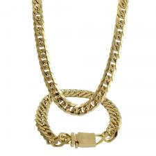 Gold PVD Stainless Steel Cuban Link Necklace and Bracelet Set with Box Clasp
