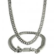 Stainless Steel Cuban Link Necklace and Bracelet Set with Box Clasp