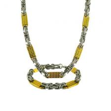 Stainless Steel Two Tone Necklace / Bracelet Set