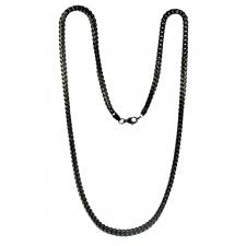 Black PVD Coated Franco Cuban Link Stainless Steel Chain
