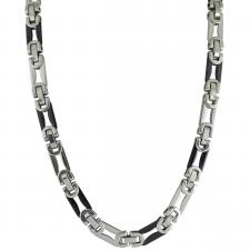 Stainless Steel and Black PVD Long Byzantine Link Necklace