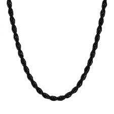 Stainless Steel Black PVD Necklace with Braid-Like Design (24 in)