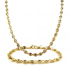 Stainless Steel Gold PVD Chain& Bracelet Set 5mm